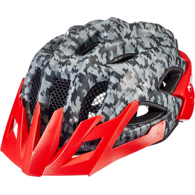KED Status Casque Enfant, camouflage anthracite/red